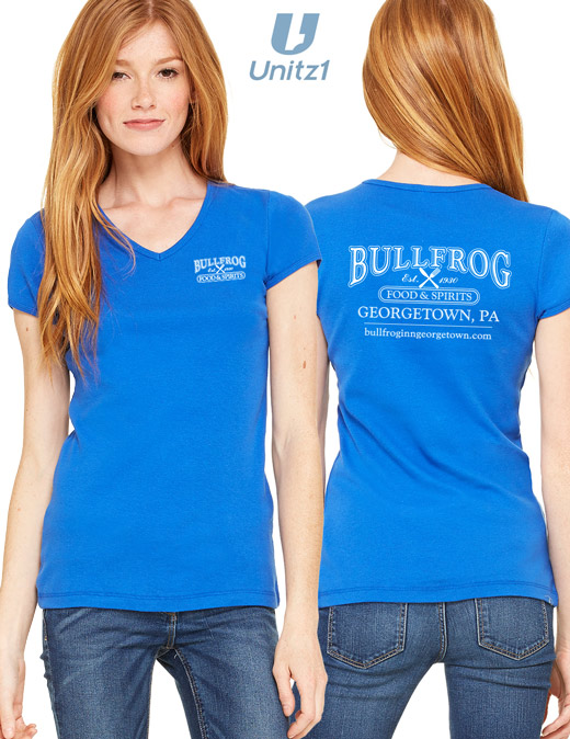 Bullfrog Ladies' V-Neck T-Shirt