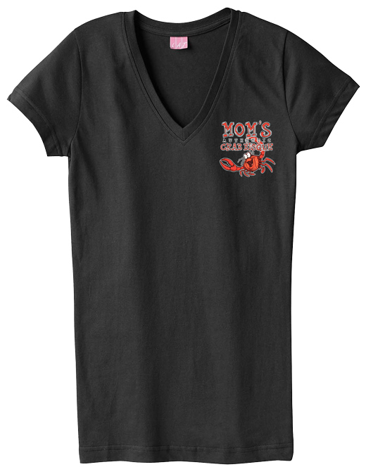 Mom's Crab Bisque Ladies V-neck T-shirt